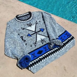 Vintage Tribal Arrow Print Knit Sweater